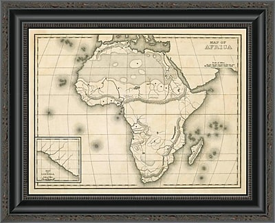 East Urban Home 'Map of Africa; 1839' Framed Print; 20'' H x 20'' W x 1.5'' D