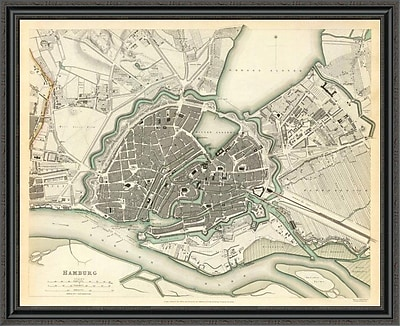 East Urban Home 'Hamburg; Germany; 1841' Framed Print; 35'' H x 44'' W x 1.5'' D