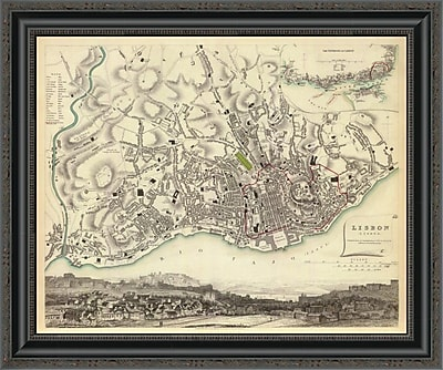 East Urban Home 'Lisbon; Portugal; 1833' Framed Print; 19'' H x 26'' W x 1.5'' D