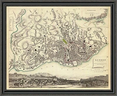 East Urban Home 'Lisbon; Portugal; 1833' Framed Print; 28'' H x 40'' W x 1.5'' D