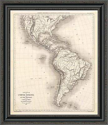 East Urban Home 'Carte De L'Empire Espagnol Dans Les Deux Ameriques; 1873' Framed Print