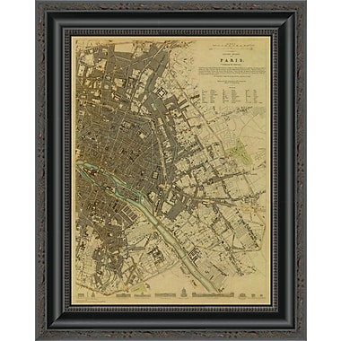 East Urban Home 'Paris; France; 1834 - Tea Stained' Framed Print; 17'' H x 16'' W x 1.5'' D