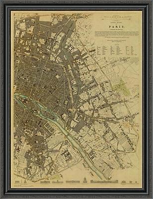 East Urban Home 'Paris; France; 1834 - Tea Stained' Framed Print; 33'' H x 31'' W x 1.5'' D