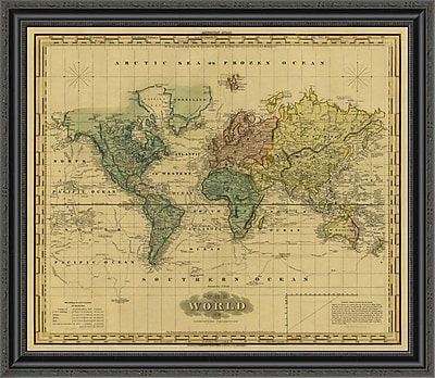 East Urban Home 'World On Mercators Projection; 1823 - Tea Stained' Framed Print