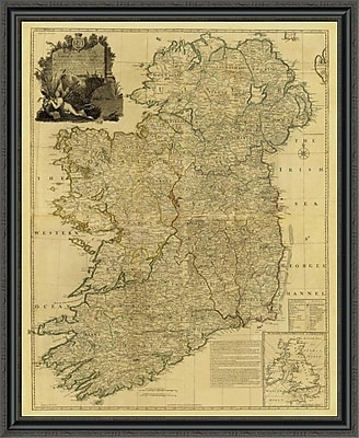 East Urban Home 'Composite: Ireland; 1790 - Tea Stained' Framed Print; 23'' H x 36'' W x 1.5'' D