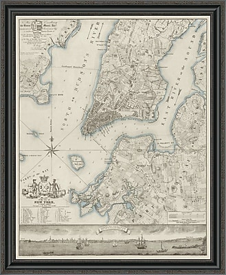 'Plan of the City of New York; Copied From the Ratzger Map - Decorative Blue Shading' Framed Print