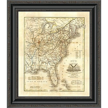 East Urban Home 'Map of the United States; 1845' Framed Print; 32'' H x 17'' W x 1.5'' D