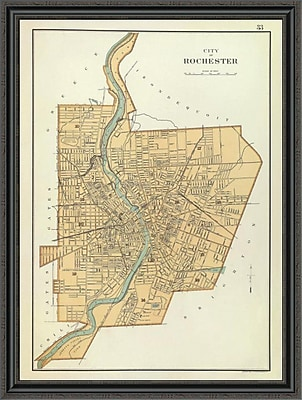 East Urban Home 'Rochester; New York; 1895' Framed Print; 32'' H x 33'' W x 1.5'' D