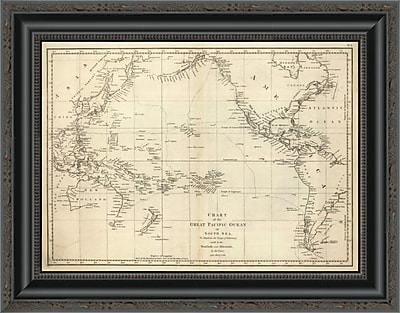 East Urban Home 'Chart of the Great Pacific Ocean; 1799' Framed Print; 23'' H x 20'' W x 1.5'' D