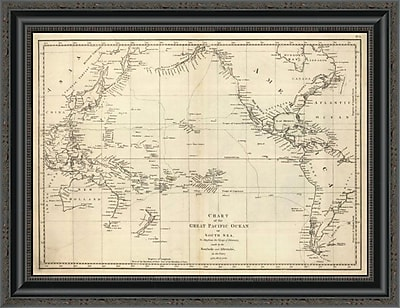 East Urban Home 'Chart of the Great Pacific Ocean; 1799' Framed Print; 27'' H x 26'' W x 1.5'' D