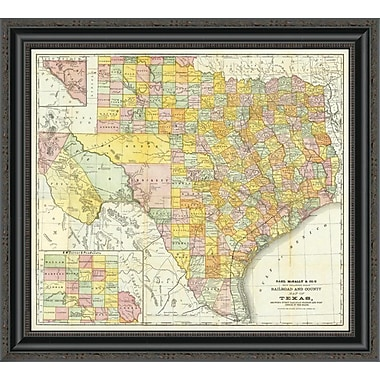East Urban Home 'Railroad and County Map of Texas; 1882' Framed Print; 16'' H x 26'' W x 1.5'' D