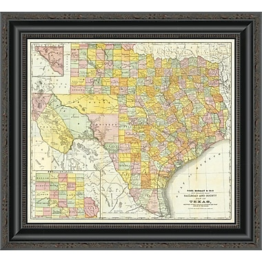 East Urban Home 'Railroad and County Map of Texas; 1882' Framed Print; 29'' H x 20'' W x 1.5'' D