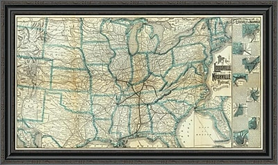 East Urban Home 'Louisville and Nashville Railroad; 1886' Framed Print; 20'' H x 40'' W x 1.5'' D