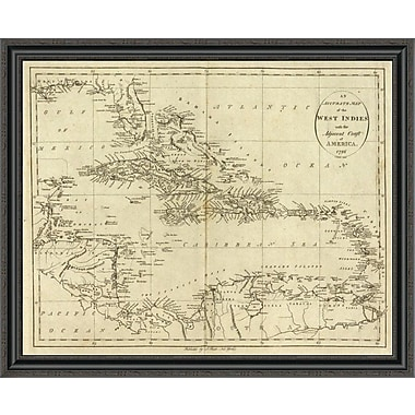 East Urban Home 'Map of the West Indies; 1796' Framed Print; 22'' H x 40'' W x 1.5'' D