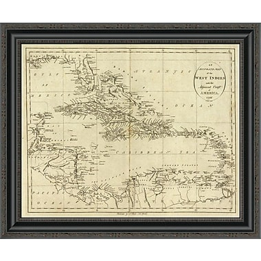 East Urban Home 'Map of the West Indies; 1796' Framed Print; 33'' H x 26'' W x 1.5'' D
