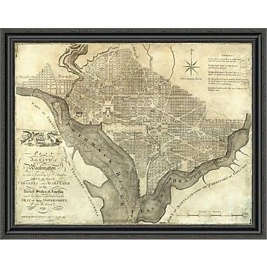 East Urban Home 'Plan of the City of Washington; 1795' Framed Print; 22'' H x 40'' W x 1.5'' D