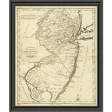 East Urban Home 'State of New Jersey; 1796' Framed Print; 22'' H x 33'' W x 1.5'' D