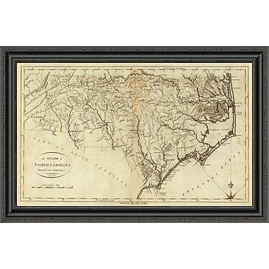 East Urban Home 'State of North Carolina; 1796' Framed Print; 20'' H x 34'' W x 1.5'' D