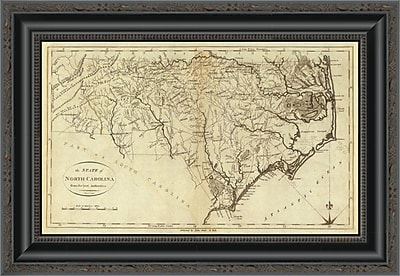 East Urban Home 'State of North Carolina; 1796' Framed Print; 34'' H x 20'' W x 1.5'' D