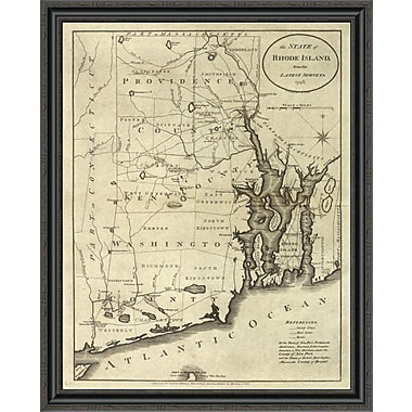 East Urban Home 'State of Rhode Island; 1796' Framed Print; 17'' H x 32'' W x 1.5'' D