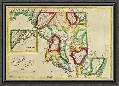 East Urban Home 'State of Maryland; 1827' Framed Print; 40'' H x 44'' W x 1.5'' D