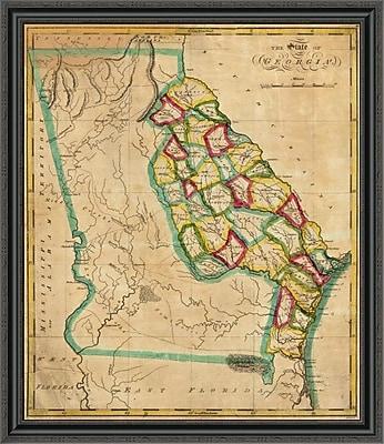 East Urban Home 'State of Georgia; 1827' Framed Print; 25'' H x 34'' W x 1.5'' D