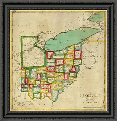 East Urban Home 'State of Ohio; 1827' Framed Print; 17'' H x 25'' W x 1.5'' D