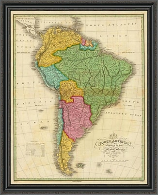 East Urban Home 'Map of South America; 1826' Framed Print; 26'' H x 33'' W x 1.5'' D