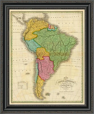 East Urban Home 'Map of South America; 1826' Framed Print; 32'' H x 21'' W x 1.5'' D