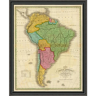 East Urban Home 'Map of South America; 1826' Framed Print; 34'' H x 36'' W x 1.5'' D