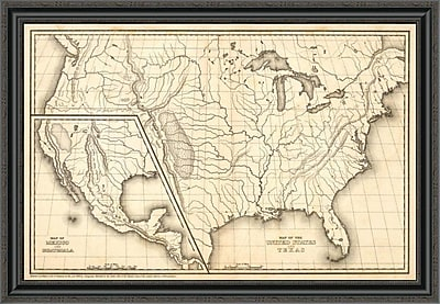 East Urban Home 'Map of the United States and Texas; Mexico and Guatimala; 1839' Framed Print