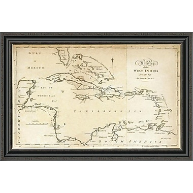 East Urban Home 'Map of the West Indies; 1794' Framed Print; 17'' H x 34'' W x 1.5'' D