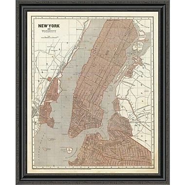 East Urban Home 'New York and Vicinity; 1845' Framed Print; 14'' H x 28'' W x 1.5'' D