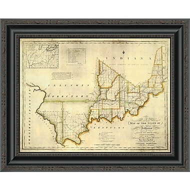 East Urban Home 'The State of Indiana; 1817' Framed Print; 15'' H x 20'' W x 1.5'' D