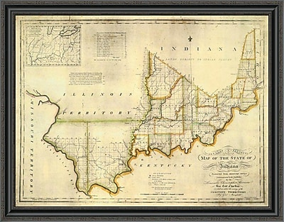 East Urban Home 'The State of Indiana; 1817' Framed Print; 29'' H x 40'' W x 1.5'' D