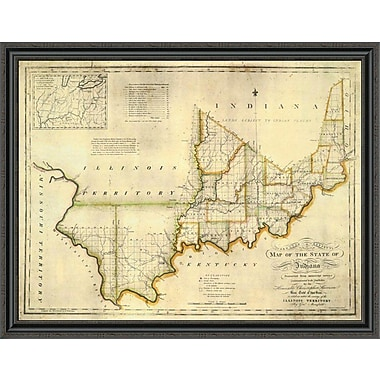 East Urban Home 'The State of Indiana; 1817' Framed Print; 32'' H x 44'' W x 1.5'' D