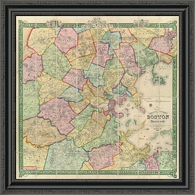 East Urban Home 'Boston and Vicinity; 1852' Framed Print; 26'' H x 26'' W x 1.5'' D