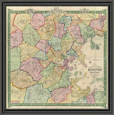 East Urban Home 'Boston and Vicinity; 1852' Framed Print; 40'' H x 40'' W x 1.5'' D
