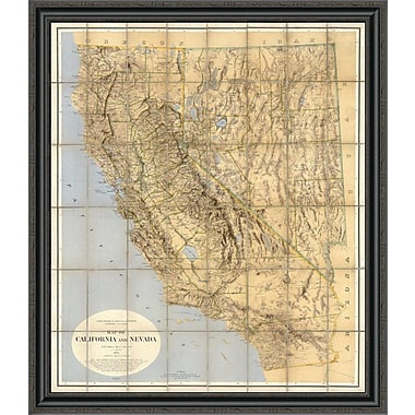 East Urban Home 'Map of California and Nevada; 1874' Framed Print; 16'' H x 35'' W x 1.5'' D