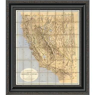 East Urban Home 'Map of California and Nevada; 1874' Framed Print; 21'' H x 18'' W x 1.5'' D
