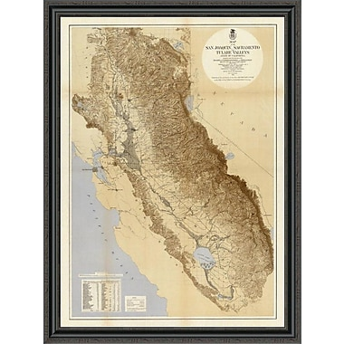 East Urban Home 'Map of the San Joaquin; Sacramento and Tulare Valleys; 1873' Framed Print