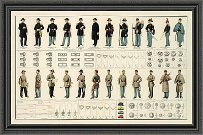 East Urban Home 'Civil War - Uniforms; Us and Confederate Armies; 1895' Framed Print
