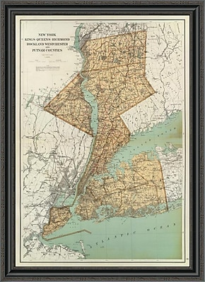 'New York: Kings; Queens; Richmond; Rockland; Westchester; Putnam Counties; 1895' Framed Print