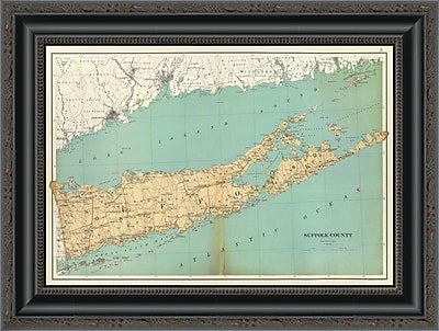 East Urban Home 'Suffolk County; New York; 1895' Framed Print; 13'' H x 20'' W x 1.5'' D