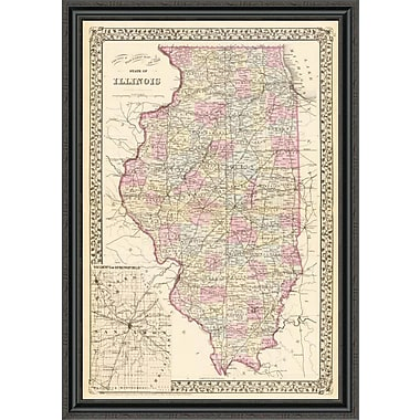 East Urban Home 'State of Illinois; 1880' Framed Print; 20'' H x 31'' W x 1.5'' D