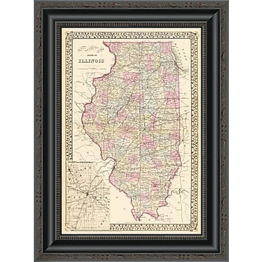 East Urban Home 'State of Illinois; 1880' Framed Print; 26'' H x 15'' W x 1.5'' D
