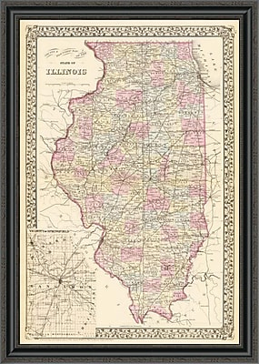 East Urban Home 'State of Illinois; 1880' Framed Print; 44'' H x 28'' W x 1.5'' D