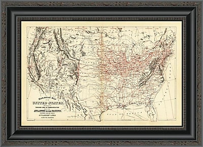 East Urban Home 'Railroad Map of the United States; 1890' Framed Print; 26'' H x 20'' W x 1.5'' D
