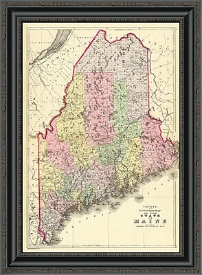 East Urban Home 'State of Maine; 1890' Framed Print; 17'' H x 19'' W x 1.5'' D