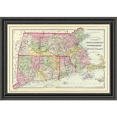East Urban Home 'Massachusetts; Connecticut ; Rhode Island; 1890' Framed Print